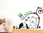 Dnven (80cm w X 60cm h) Loyal Partner Cute Puppies Wall Decals, Children's Room Nursery Removable Wall Stickers Murals