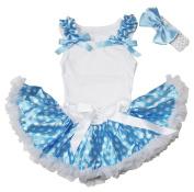 Ruffle Bow Plain White Top Blue White Dots Newborn Baby Girl Skirt Set 3-12m