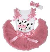 Milk Cow White Top Dusty Pink Newborn Baby Girl Pettiskirt Skirt Set 3-12m