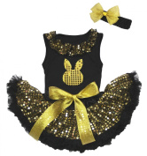 Easter Bling Bunny Black Top Gold Sequins Newborn Baby Skirt Outfit Set 3-12m