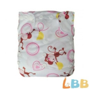 LBB(TM) Baby Resuable Washable Pocket Cloth Nappy With Adjustable Snap,Red Monkey