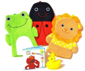 Baby Bath Hand Puppet Bathmitt Washmitt Book and Bubbles Gift Set with Ladybug Elephant Frog Doggy Kitty Cat Bumblebee Piggy with Elmo Big Bird or Abby Cadabby AND a Bubble Blowing Rubber Duckie on a string