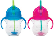 Munchkin Click Lock 210ml Weighted Flexi-Straw Cup, 2 Pack, Blue/Pink