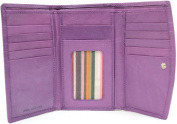 Ladies / Womens Leather Tri-Fold Wallet, Multiple Pockets and Credit Card Slots