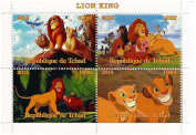 The Lion King Disney movie stamp sheet for collectors with 4 stamps / 2014 / Chad / 1000F