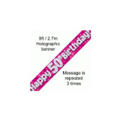 9ft Pink & Silver Hearts Holographic Happy 50th Birthday Banner