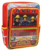 """Fireman Sam - New Design! """"SAM in Fire Engine! Backpack with Front Pocket Rucksack / School Bag"""