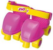 Evo Kids Quad Skates Roller Skates in Pink & Yellow for Girls Adjustable size 5-11