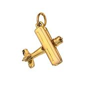 9ct Gold 16x18mm Bi Plane Pendant or Charm