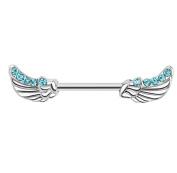 Gekko Body Jewellery Nipple Bar with Angels Wings Lined with Aqua CZ Gems