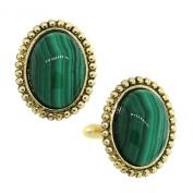 1928 Jewellery Gold-Tone Semi-Precious Green Malachite Oval Cuff Links