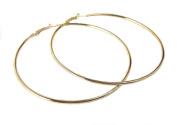 High quality plain hoop earrings, Gold Plated, 60mm, 70mm, 80mm, 90mm, 100mm, 105mm