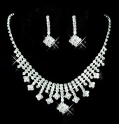TreasureBay Elegant Crystal Clear Diamante Exclusive Bridal Designer Necklace and Earrings Jewellery Set - BA1524TB