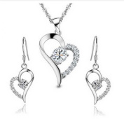 ladies. element sterling Silver white crystal Heart Shape Set Earring and Pendant Necklace .for women girls
