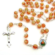 Orange rose flower plastic rosary beads 56cm length necklace long
