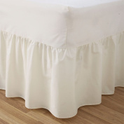 PLAIN DYED 50:50 POLY COTTON BED BASE VALANCE SHEET CREAM