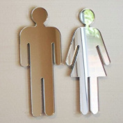 Mirrored Male & Female Toilet Door Signs 12cm x 5cm each