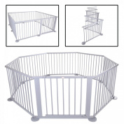 BABY VIVO LARGE 8 SIDE WOODEN BABY PLAYPEN WITH DOOR NEW GREY - NOT FOLDABLE