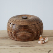 Medium Carved Mango Wood Bowl with Lid