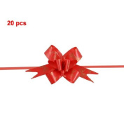 TOOGOO(R) Bowtie Print Red Wedding Decoration Gift Wrap Pull Bow Ribbons 20 pcs