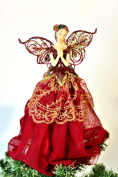 Gisela Graham Burgundy and Gold Fairy with Wings Tree Topper