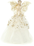 Festive Fabric Angel Christmas Tree Topper 23 cm, Gold/ Cream