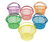 12 Bright Coloured Plastic Easter Egg Hunt Baskets