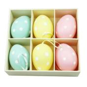 Set Of Six Polka Dot Easter Egg Decorations