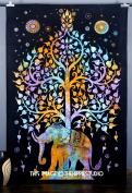 Psychedelic Celestial Elephant Tree Tapestry ,Good Luck Tie Dye Elephant Tape...