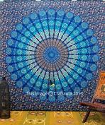 Larga Indian Mandala Tapestry Wall Hanging, Hippie Psychedelic Mandala Tapestries, Beach Sheet, New Age Dorm Bedding, Bohemian wall Hanging, Decor Art