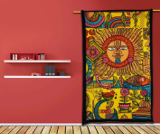 Ethnic Sun Tapestry Hippy Table Cloth Yellow Wall Hanging Decorative Indian Art Bed Sheet 220cm X 140cm