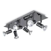 Modern Rectangular Black Chrome 6 Way Adjustable GU10 Ceiling Spotlight