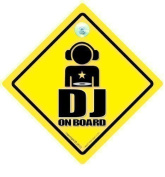 DJ On Board Car Sign, DJ Sign, DJ On Board Sign, DJ Car Sign, Bumper Sticker, Disc Jockey, Decal, Car Sticker, MC, Rap, Hip Hop, Funny Car Sign, Baby on Board, Car Sign, Graphic, Car Graphic