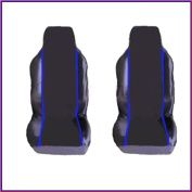 FORD TRANSIT CONNECT VAN (2002 on) PREMIUM FABRIC SEAT COVERS Blue PIPING 1+1