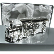 New Baby Gift, Engraved Silver Plated Cute First Tooth and Curl Train and Carriage Set, New Baby Gift Idea