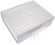 White Cotton Cards Naming Day White Pearls A4 Keepsake Box