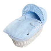 New Blue Dimple Moses Basket Covers 4 Piece Bedding Set Inc Quilt,Skirt,Hood & Sheet