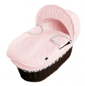 New Pink Dimple Moses Basket Covers 4 Piece Bedding Set Inc Quilt,Skirt,Hood & Sheet