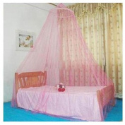 SODIAL(TM) Pink Round Lace Mosquito Bed Canopies Netting