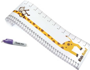 Kids Rule Giraffe And Monkey Plastic Roll-Up Height Measuring Chart. Includes FREE Mini Sharpie Marker Pen, Measures From Birth To Adult. Choice Of 2 Designs
