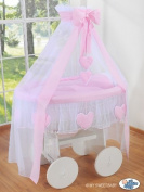 DELUXE HEART COLLECTION - LARGE WHEELED WHITE WICKER CRIB / MOSES BASKET / BASSINET / BABY COT WITH DRAPE / CANOPY NET - SOLID WOOD WHITE BASE + QUALITY PINK & WHITE BEDDING SET + QUALITY MATTRESS + CANOPY NET HOLDER