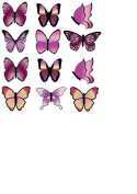 PINK BUTTERFLIES M1 EDIBLE RICE / WAFER PAPER CUP CAKE TOPPERS BIRTHDAY PARTY WEDDING DECORATION B18