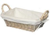 RECTANGULAR NATURAL WICKER BREAD BASKET LINED TRAY GIFT HAMPER HANDLES CATERING