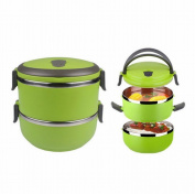 Two Layers Stainless Steel School Bento Lunch Box Lunchbox Food Storage Container Green