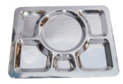 Insideretail Large Thali Plate Stainless Steel, 6 compartment, Set of 4