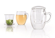 Creano All-in-One 092 Glass Tea Cup with Integrated Glass Filter and Lid