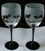 Cat playing gift black stem wine glasses
