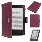 TECHGEAR® Purple Kindle PU Leather Folio Case Cover With Magnetic Clasp for Amazon Kindle eReader with 15cm Screen [Book Style] **WITH FREE SCREEN GUARD INCLUDED**