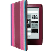 CaseGuru Rainbow Stripe Open Book Style Entertainment Entertainment Wallet Case Cover & Viewing Stand Feature for Kobo Aura HD eReader