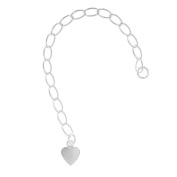 Sterling Silver 3mm Curb Chain Necklace Extender With Heart - 3 Inches